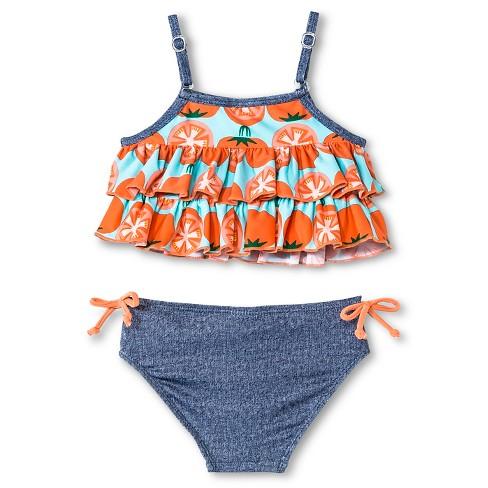 59e625f596a02 Toddler Girls' Floatimini Tomato Print Layered Ruffle Denim Bottom  Adjustable 2-Piece Bikini Swimsuit Orange