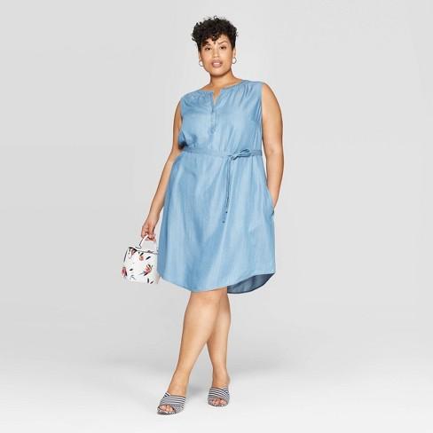 Women\'s Plus Size Sleeveless V-Neck Tencel Henley Dress - Ava & Viv ...