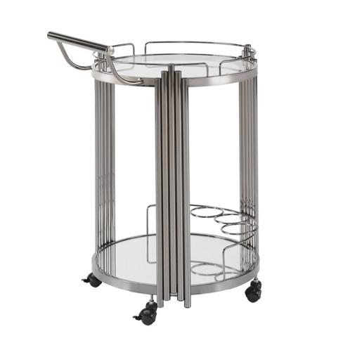 Bernice Metal/Glass Top Bar Cart Nickel - Inspire Q - image 1 of 4