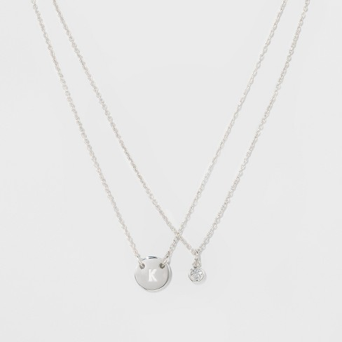 "Women's Silver Plated Letter K Initial Clear Crystal Necklace - Silver (18"") - image 1 of 3"