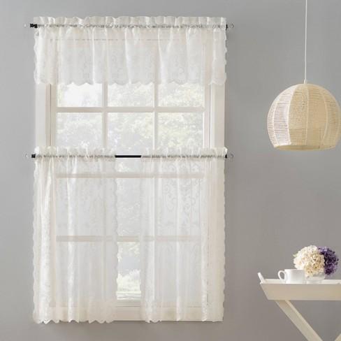 58 x24 ariella farmhouse lace rod pocket kitchen curtain valance and tiers set ivory no 918