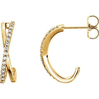 "Pompeii3 .25CT 14K Yellow Gold Diamond Hoops Criss Cross Earrings 3/4"" Tall"