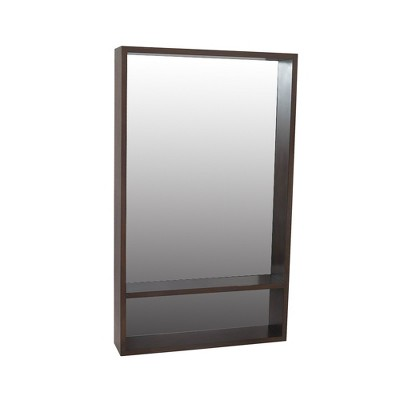 "40""x23.75"" Modern Wall Mirror with Shelf Walnut Brown - Project 62™"