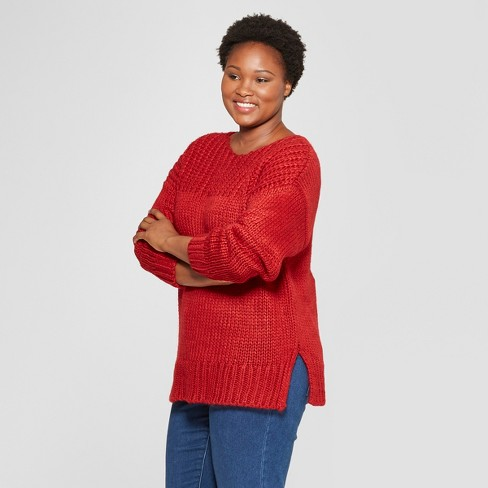 Womens Plus Size Long Sleeve Chunky Knit Sweater Universal Thread