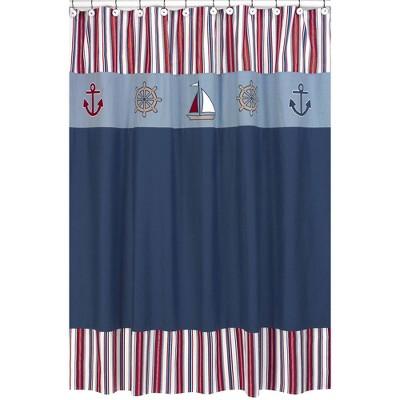 Nautical Nights Shower Curtain Blue/Red - Sweet Jojo