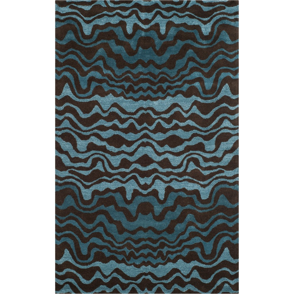 5'X8' Wave Tufted Area Rug Blue/Brown - Safavieh