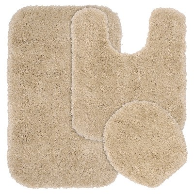 3pc Serendipity Shaggy Washable Nylon Bath Rug Set Linen - Garland