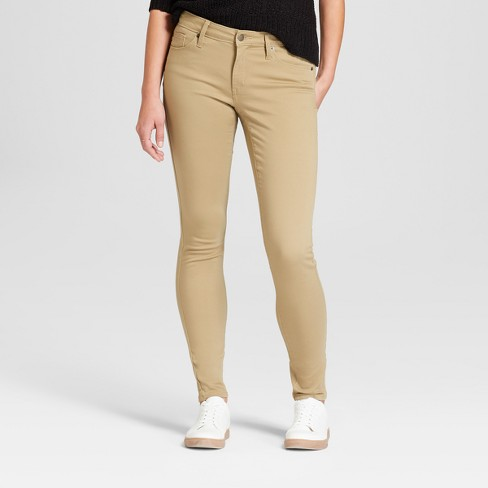 Women's Mid-Rise Skinny Jeans - Universal Thread™ Tan - image 1 of 3