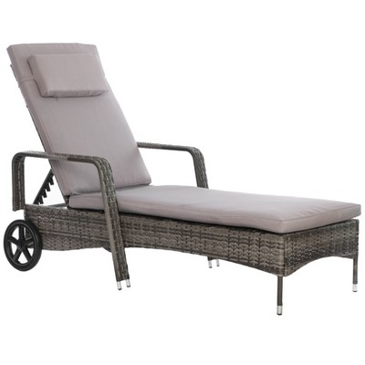 Gardenised Outdoor Weather Resistant Beach or Poolside Rattan Lounge Chair, Charcoal