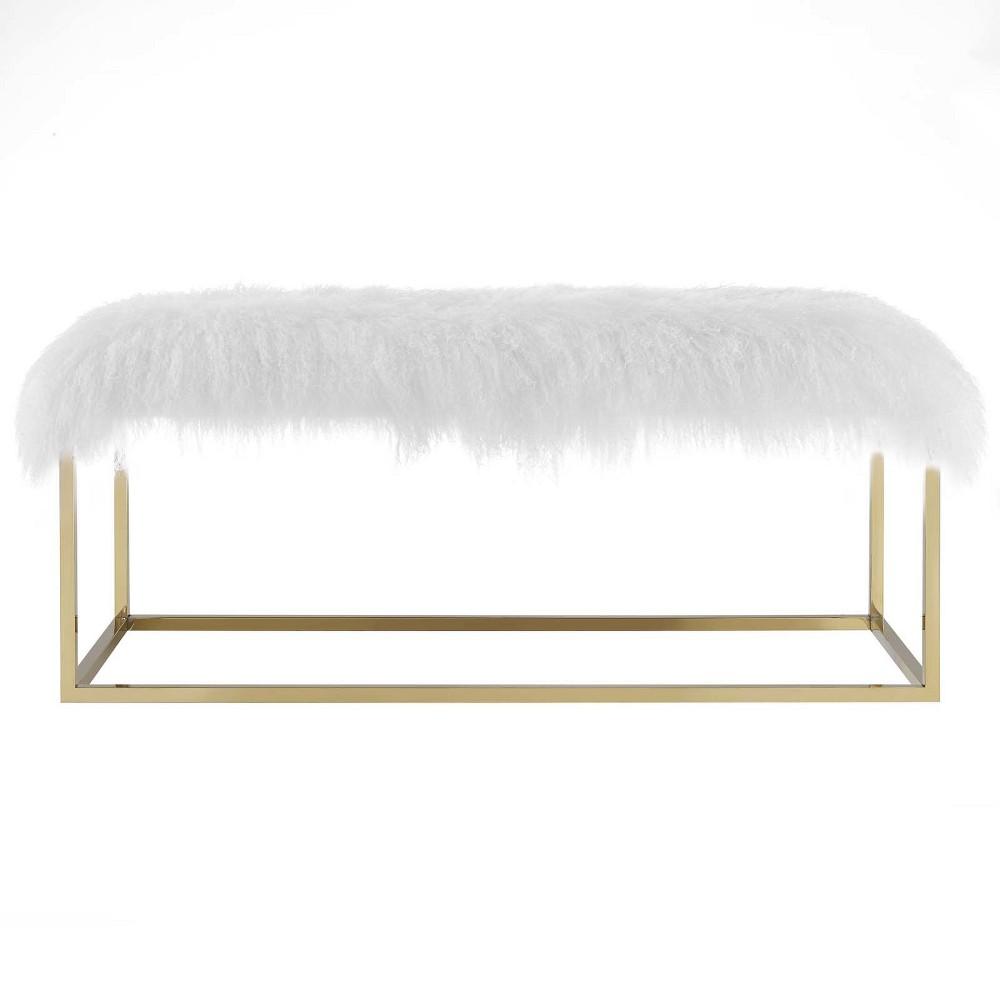 Gaze White Sheepskin Bench Gold - Modway