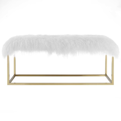 Gaze White Sheepskin Bench Gold - Modway - image 1 of 5