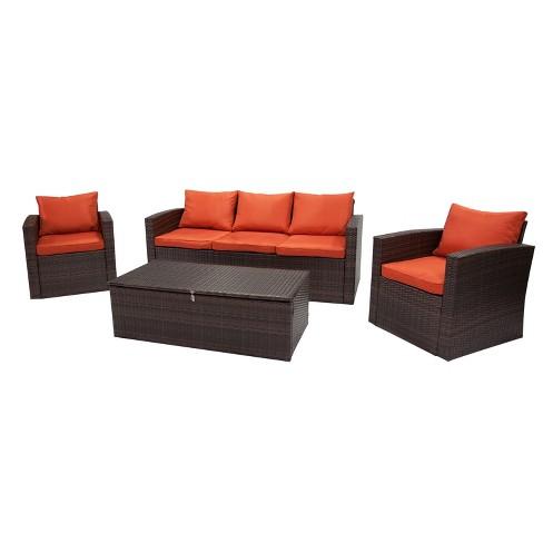 4pc Rio All-Weather Wicker Conversation Set with Storage Brown - Thy Hom - image 1 of 4