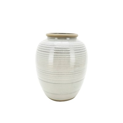 "11"" Ceramic Ribbed Vase Gray - Threshold™ designed with Studio McGee"