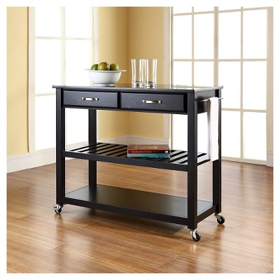 Solid Black Granite Top Kitchen Cart/Island With Optional Stool Storage - Crosley & Solid Black Granite Top Kitchen Cart/Island With Optional Stool ...