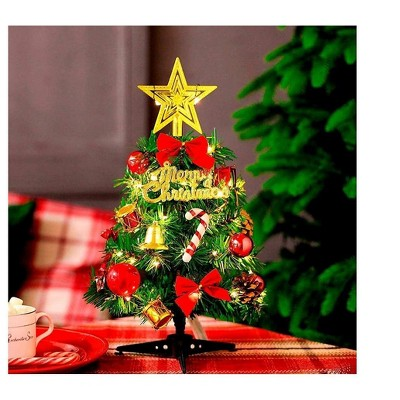 USB Charging Desktop Mini 12in Artificial Christmas Tree with LED Light (Decoration not included) for Home Tabletop Office Shop Christmas Decoration