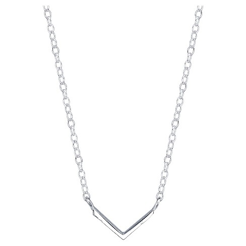 "Women's Sterling Silver V Station Necklace - Silver (18.4"") - image 1 of 2"