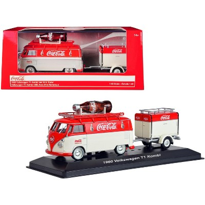 """1960 Volkswagen T1 Kombi Van with Trailer Red and Cream """"Coca Cola"""" 1/43 Diecast Model Car by Motorcity Classics"""