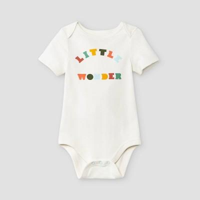 Baby Boys' 'Little Wonder' Short Sleeve Bodysuit - Cat & Jack™ Cream 3-6M
