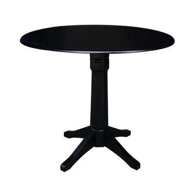 Sandon Round Dual Drop Leaf Pedestal Table Black - International Concepts
