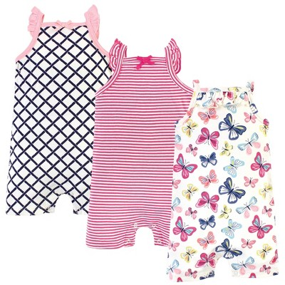 Touched by Nature Baby Girl Organic Cotton Rompers 3pk, Bright Butterflies