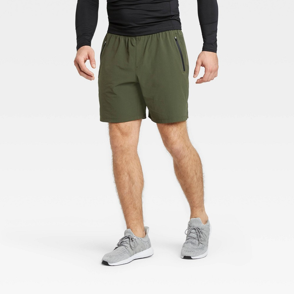 Men 39 S Stretch Woven Shorts All In Motion 8482 Olive Green S