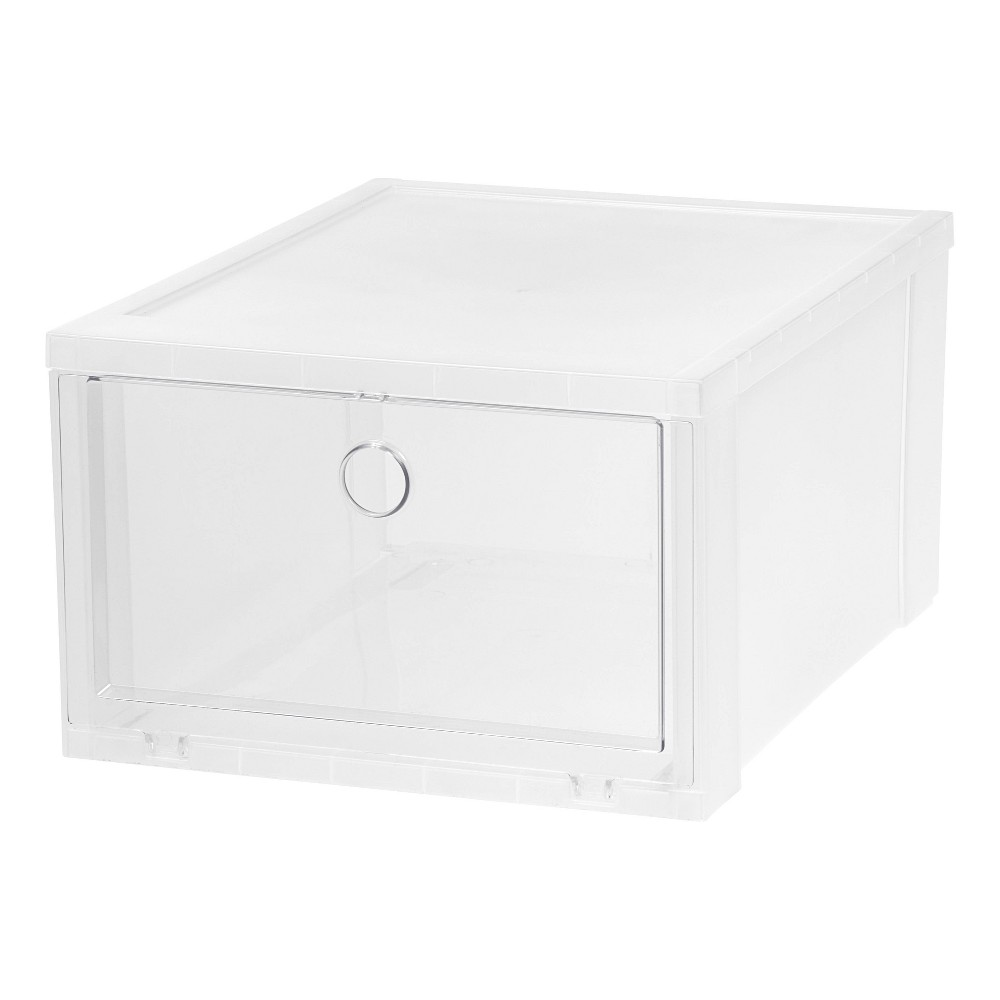 Iris Wide Clear Pull Down Front Access Shoe Box - Clear