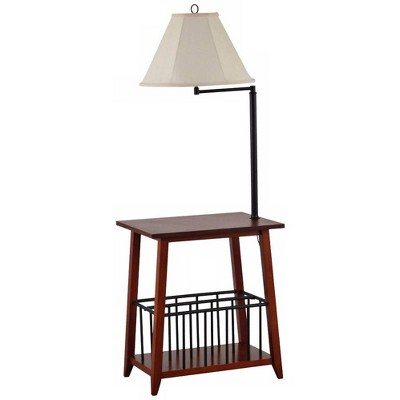 Regency Hill Mission Floor Lamp End Table Swing Arm Oak Wood Bronze Off White Linen Shade for Living Room Reading Bedroom Office
