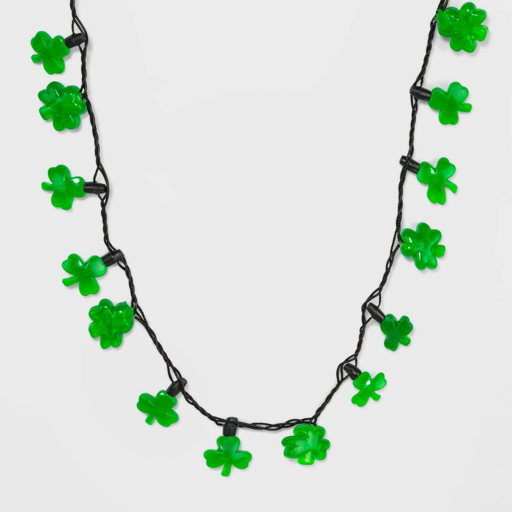 Image of St. Patrick's Day Multi Mini Scattered Light Up Shamrock Necklace - Green, Women's, Size: Small