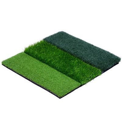 GoSports Tri-Turf XL 24 Inch Versatile Indoor Outdoor Weighted Golf Practice Hitting Mat with Fairway, Rough, and Driving Surfaces