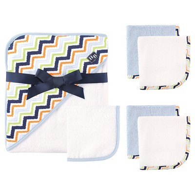 Hudson Baby Newborn Hooded Towel & Washcloth Set - Chebron