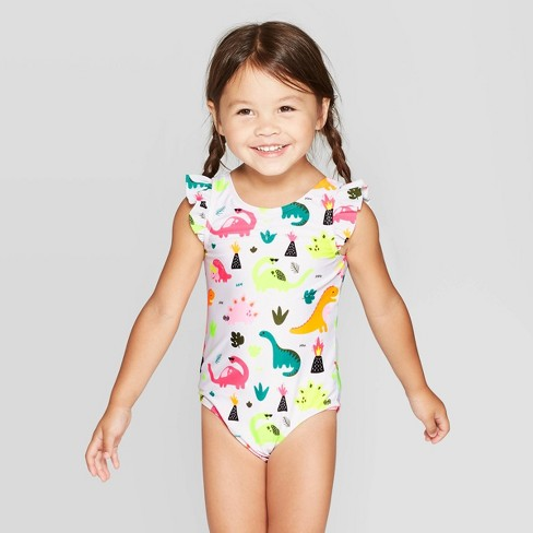 Toddler Girls' Wide Strap with arm ruffle One Piece Swimsuit - Cat & Jack™ White - image 1 of 3