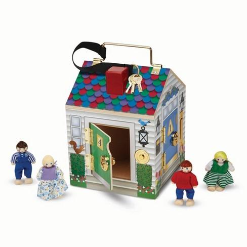 Melissa & Doug Take-Along Wooden Doorbell Dollhouse - Doorbell Sounds, Keys, 4 Poseable Wooden Dolls - image 1 of 4