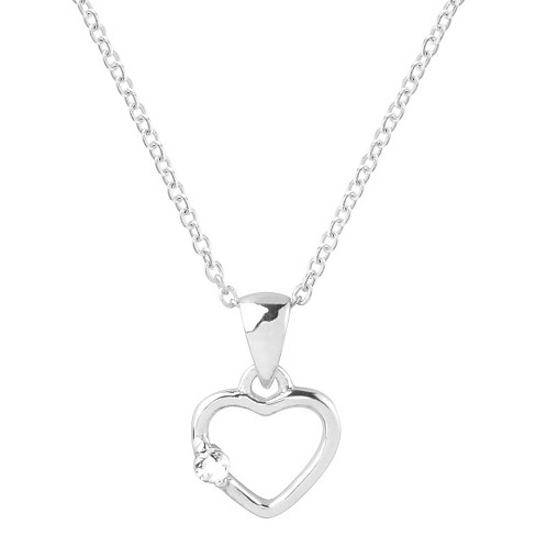 1/10 CT. T.W. Round-cut CZ Heart Pave Set Necklace in Sterling Silver - Silver - image 1 of 2