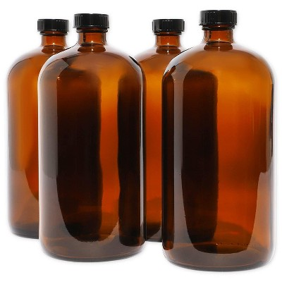 Juvale 4 Pack Boston Round Bottles with Caps, Kombucha and Drink Growler, Amber (32 oz)