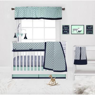 Bacati - Noah Mint Navy 10 pc Crib Bedding Set with Long Rail Guard Cover