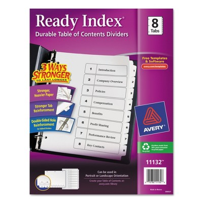 Avery Ready Index Classic Tab Titles, 8-Tab, 1-8, Letter, Black/White, 1 Set