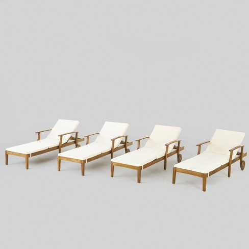 Perla 4pk Acacia Wood Patio Chaise Lounge - Teak/Cream - Christopher Knight Home - image 1 of 6