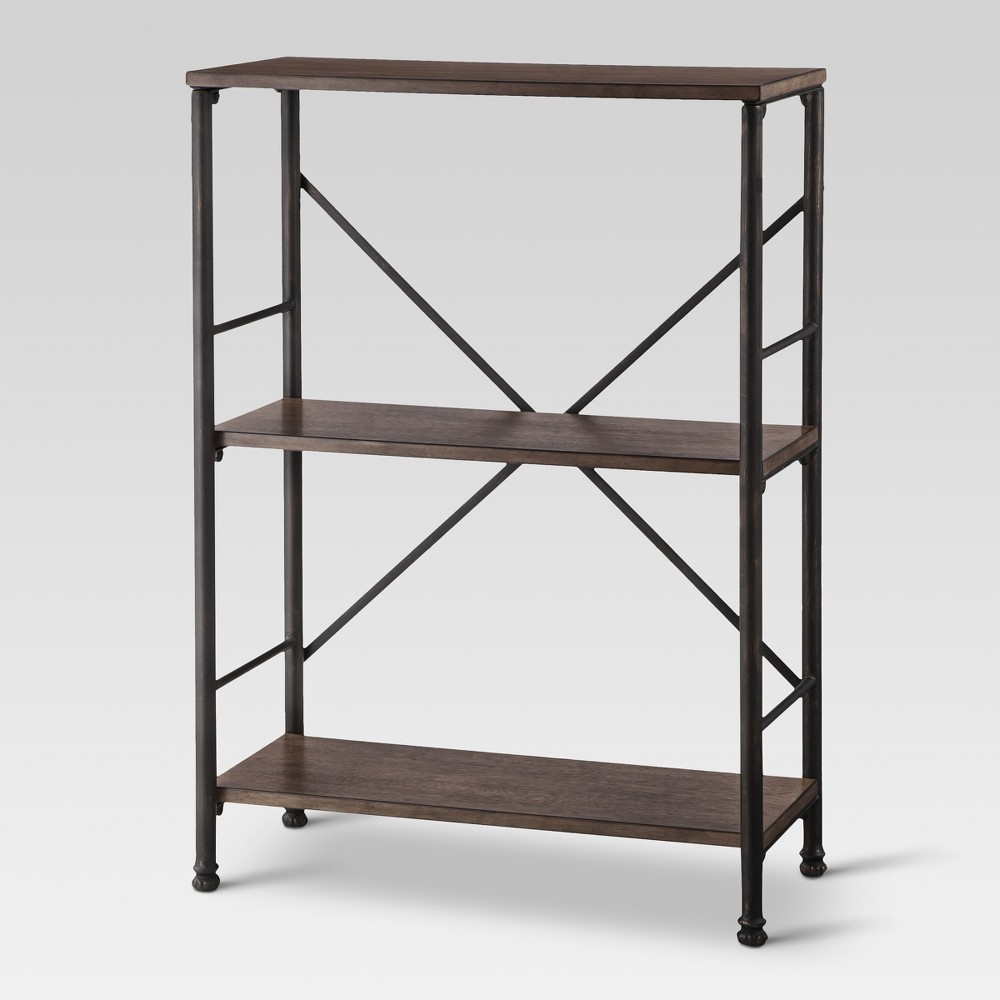 37.8 Mixed Material 2 Shelf Bookcase Brown - Threshold