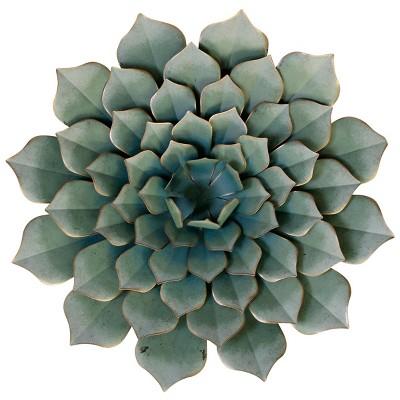 23.62  Metal Succulent Decorative Wall Art Green - StyleCraft