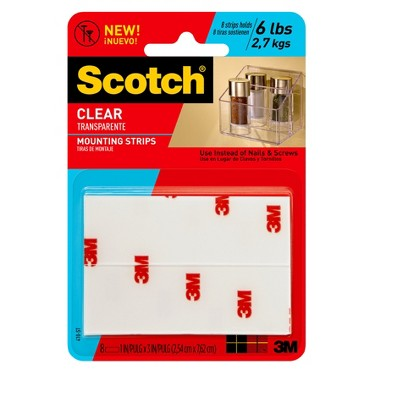 Scotch® Clear Mounting Strips, 1 in x 3 in