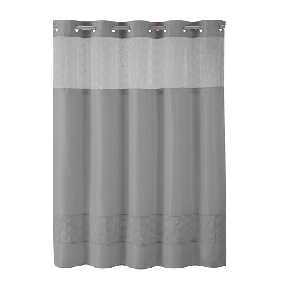 Solid Shower Curtain Gray - Hookless