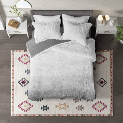 Cleo Ombre Shaggy Faux Fur Comforter Set - CosmoLiving by Cosmopolitan