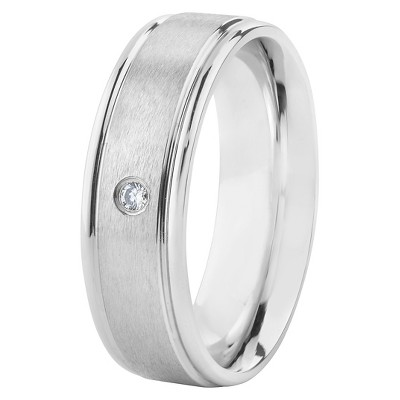 Men's Stainless Steel Cubic Zirconia Band Ring