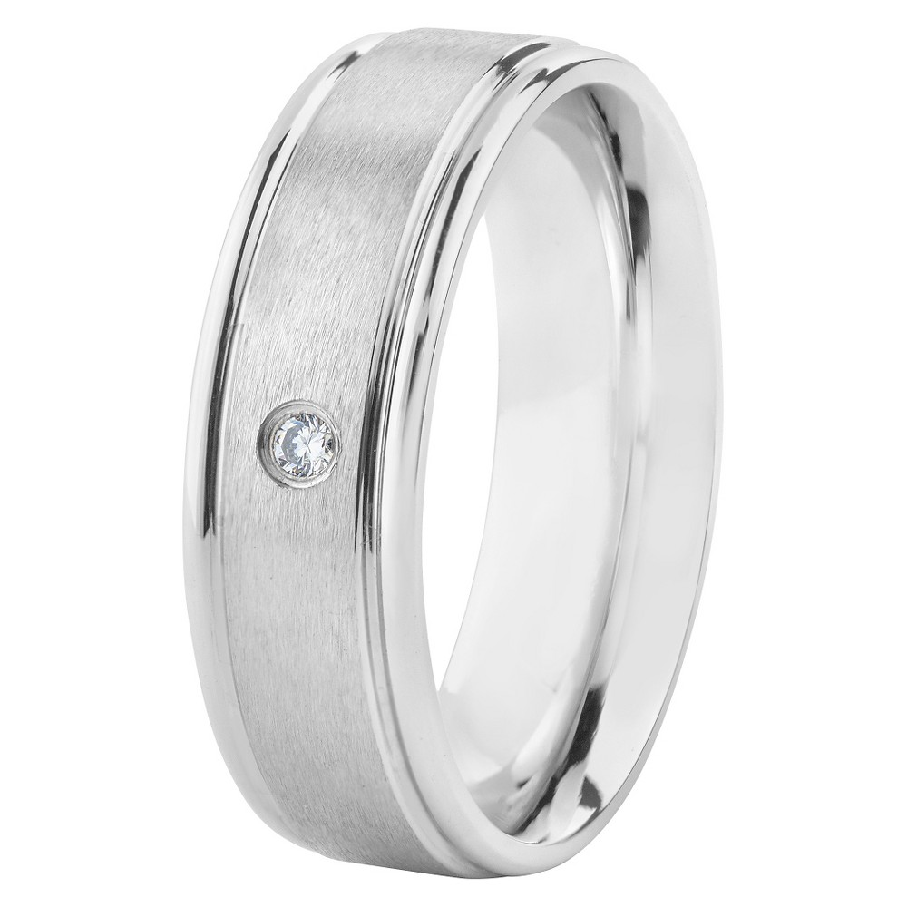 Men's Stainless Steel Cubic Zirconia Ring, Size: 8, Silver
