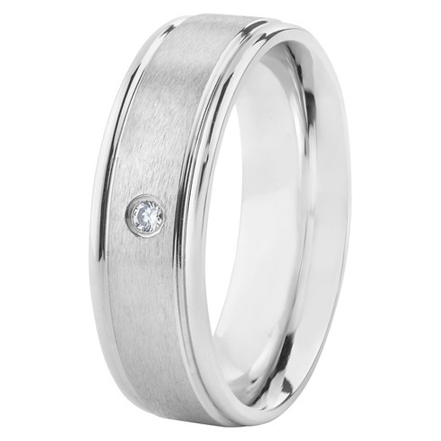 Men's Stainless Steel Cubic Zirconia Band Ring - image 1 of 4