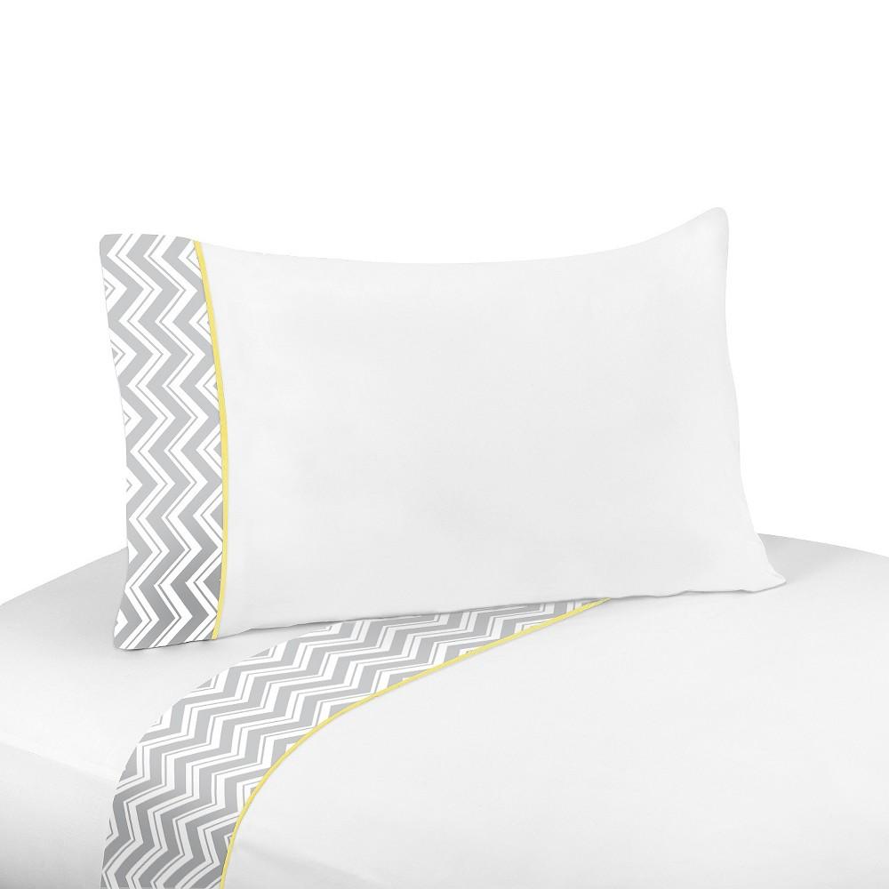 Sweet Jojo Designs Zig Zag Chevron Sheet Set - YellowithGray, Gray White Yellow