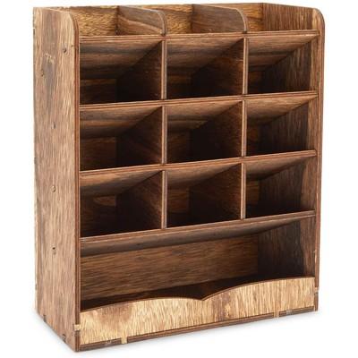 Farmlyn Creek Wood Desk Pencil Organizer with Shelf, Office Supplies (8.5 x 10 x 3.7 in)