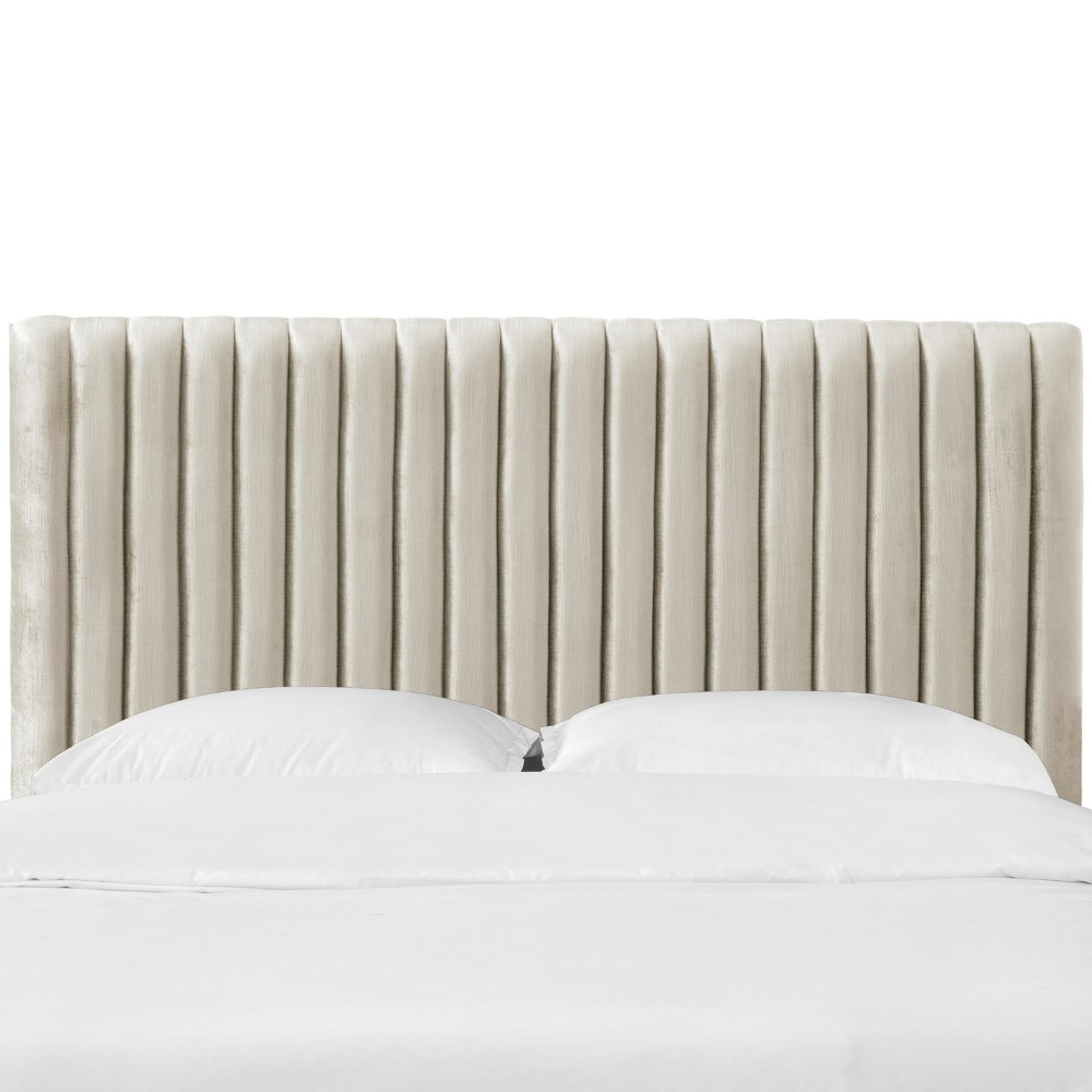 King Velvet Channel Headboard Cream Velvet - Opalhouse