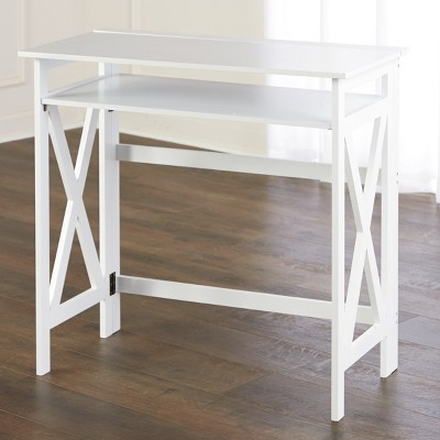 Lakeside Folding Desk - Laptop Writing Table with Shelf for Home Office, Crafting