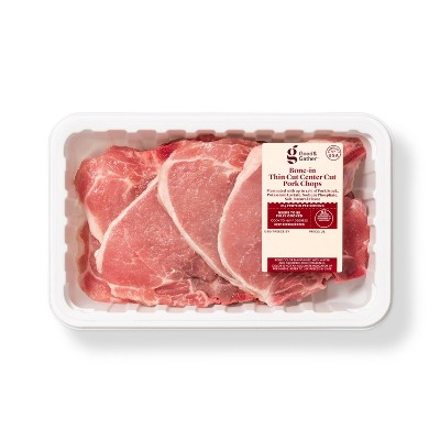 Bone-in Thin Cut Center Cut Pork Chops - 1.13-1.88 lbs - price per lb - Good & Gather™